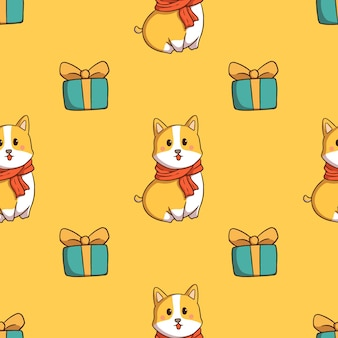Corgi dog and gift box seamless pattern with doodle style on yellow background