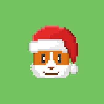 Голова собаки корги в шляпе санта-клауса в стиле пиксель-арт