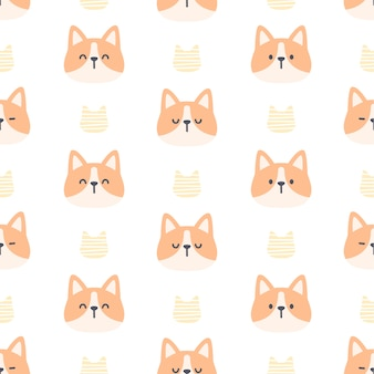 Corgi dog seamless pattern background