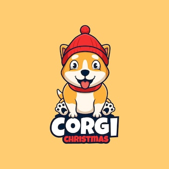 Corgi dog with christmas cap cartoon cute