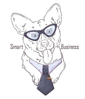 흰색 절연 넥타이와 corgi 개