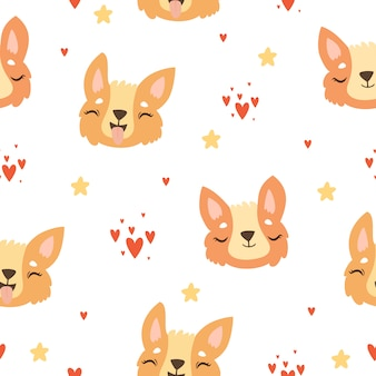 Corgi face seamless pattern