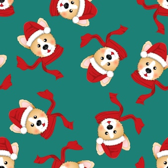 Corgi santa claus with red scarf on green background