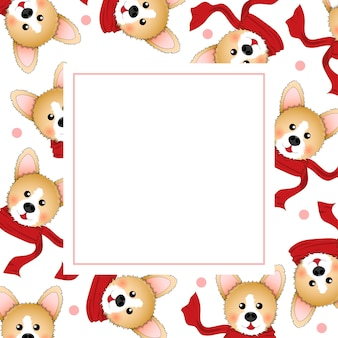 Corgi with red scarf on white banner card