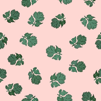 Coriander hand drawn illustration seamless pattern