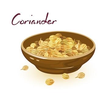 Семена кориандра в коричневой керамической миске. пряность, имеющая теплый, ореховый, пряный вкус и использующаяся в кулинарии.