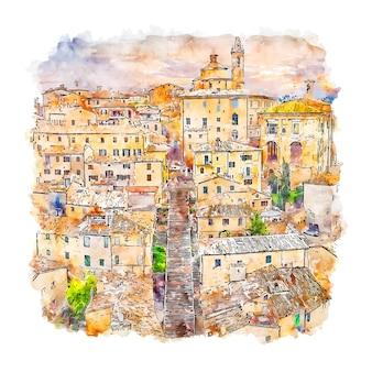 Коринальдо италия акварельный эскиз рисованной иллюстрации