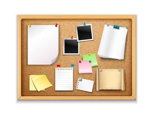 Cork board with pinned paper notepad sheets and photos realistic