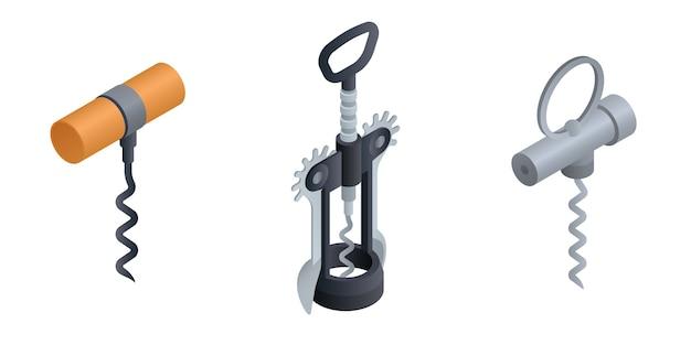 Corkscrew set. isometric set of corkscrew
