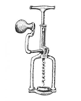 Corkscrew  on white hand drawn engraved illustration in vintage old