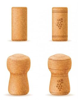 Corkwood cork for wine and champagne bottle vector illustration