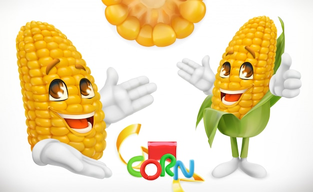 Corn, cartoon character. food for kids. 3d