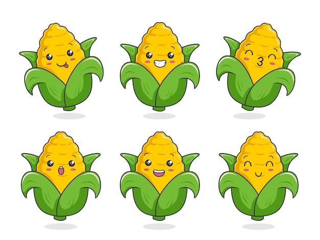Corn cartoon kawaii