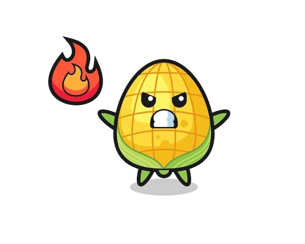 怒っているジェスチャー、tシャツ、ステッカー、ロゴ要素のかわいいスタイルのデザインとトウモロコシのキャラクター漫画