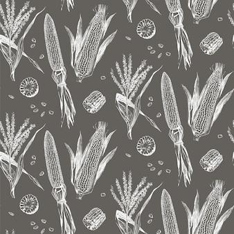 Corn on the cob vintage design seamless pattern.