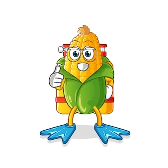 Corn divers mascot. cartoon