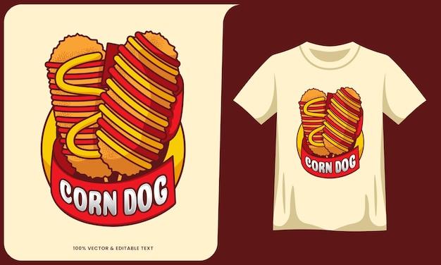 Кукурузная собака мультяшный логотип с текстовым эффектом и дизайном футболки