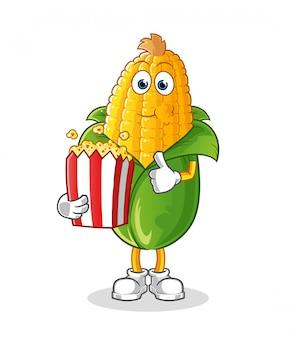 Corn eat pop corn cartoon
