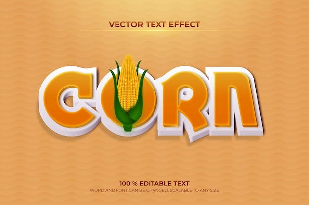 Corn editable 3d text effect with