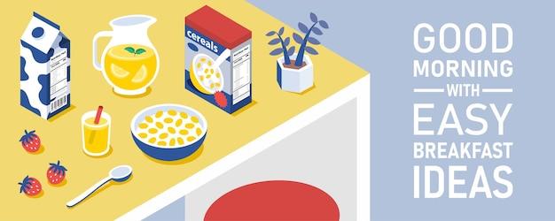 ダイニングテーブルの上のジュースの水差しが付いているコーンフレークのボウルおよび箱