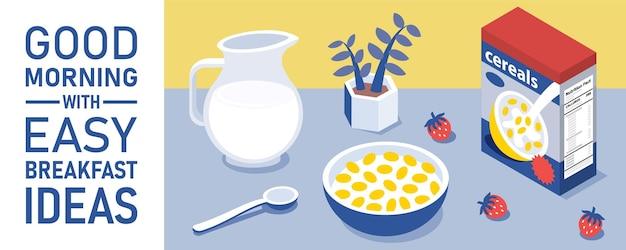 キッチンテーブルにミルクジャグとコーンフレークボウル