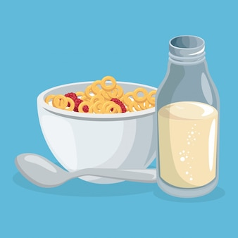 Corn flakes and milk delicious food breakfast