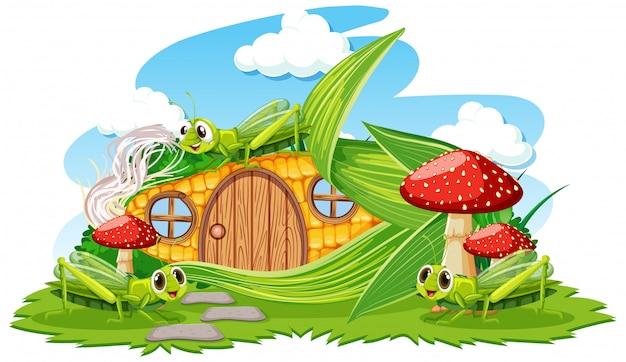 白い背景の上の3つのグラスホッパー漫画スタイルのトウモロコシの家