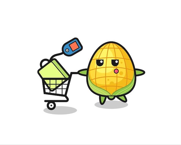 ショッピングカート、tシャツ、ステッカー、ロゴ要素のかわいいスタイルのデザインとトウモロコシのイラスト漫画