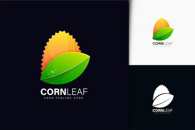 グラデーションとトウモロコシの葉のロゴデザイン