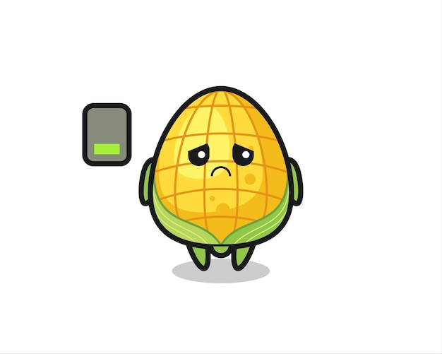 Corn mascot character doing a tired gesture , cute style design for t shirt, sticker, logo element