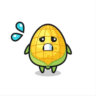 Corn mascot character with afraid gesture , cute style design for t shirt, sticker, logo element