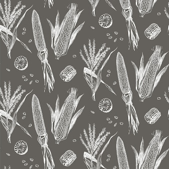 トウモロコシの穂軸ビンテージデザインのシームレスパターン。