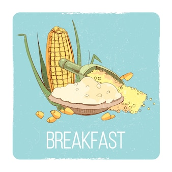 Corn porridge breakfast card - gluten free breakfast concept