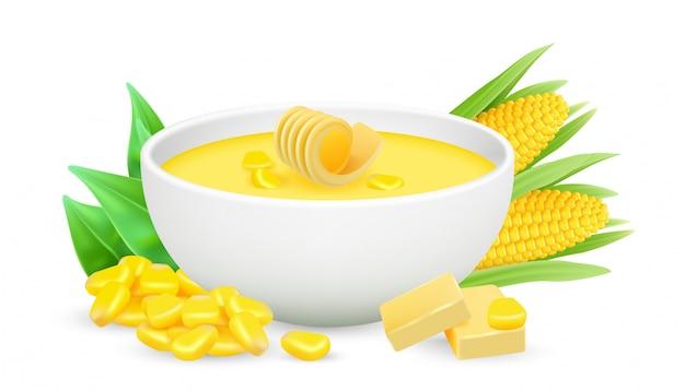 コーンポリッジ。トウモロコシのスープと白い背景の上のバターと現実的なボウル。健康食品、ポレンタ