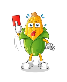 Corn referee with red card illustration. character