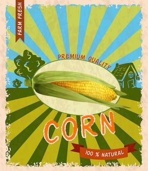 Corn retro poster