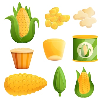 Corn set, cartoon style