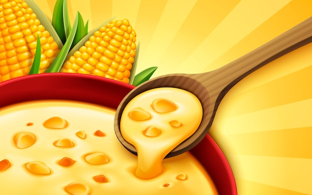 Corn soup , can be used as  elements