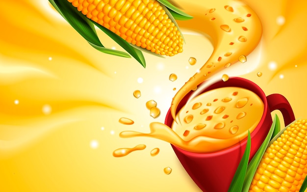 Corn soup  with special effect, can be used as  elements