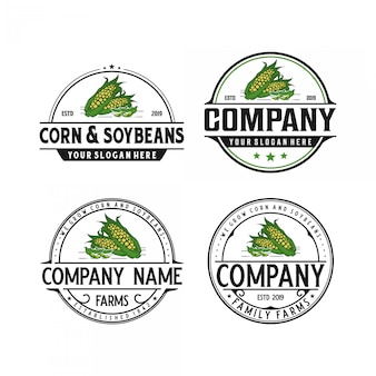 Corn and soybeans vintage logo design