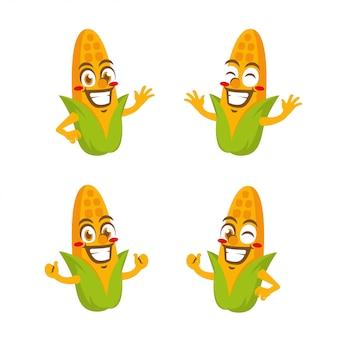 Corn vegetables character mascot cartoon