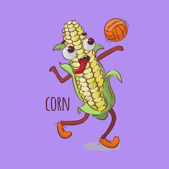 Corn volleyball sport vegetable cartoon health nutrition nature hand drawn vector illustration for print