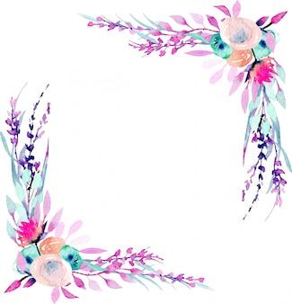 シンプルな抽象的な水彩画のピンクと紫の野の花とコーナー枠