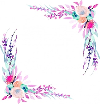 Corner border frame with simple abstract watercolor pink and purple wildflowers