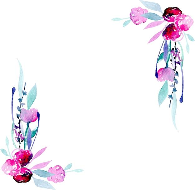 간단한 수채화 핑크 야생화와 라벤더 코너 테두리 프레임