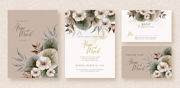 Corner of bouquet flowers watercolor  on wedding invitation card