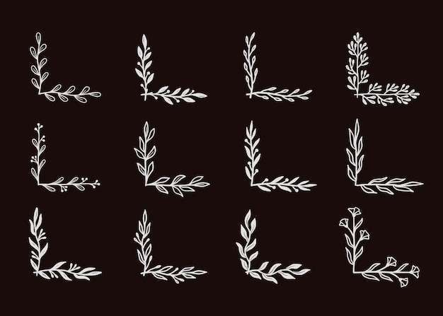 Угловая граница процветания на черной доске. нарисованный рукой уголок стиля болвана с деревенским цветочным элементом. векторная иллюстрация границы.