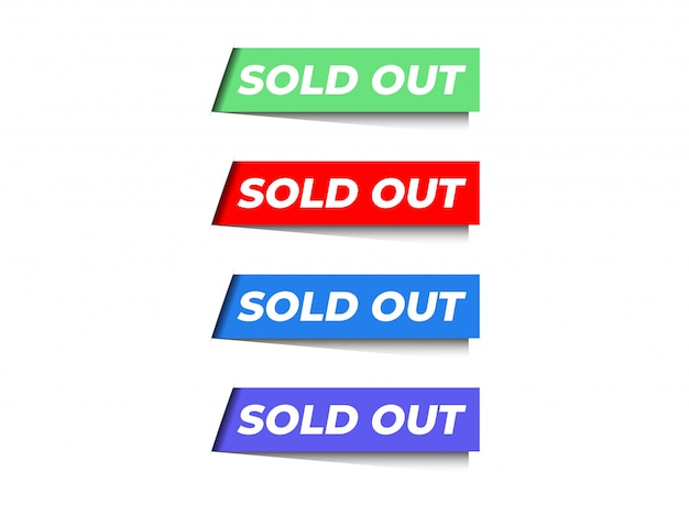 Corner sold out ribbon banner vector