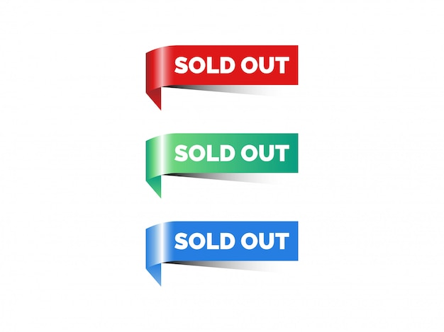 Corner sold out ribbon vector, illustration.