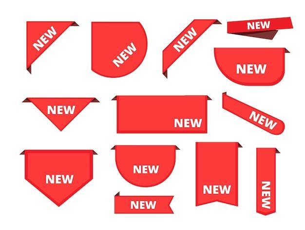 코너 스티커. 프로모션 곱슬 배너 판매 상품 라벨 도착 리본 컬렉션.